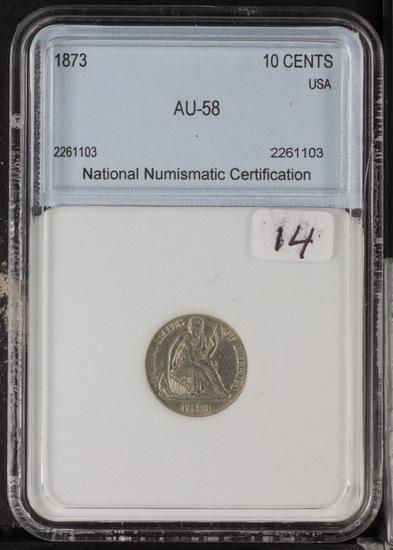 1873 - LIBERTY SEATED DIME - AU
