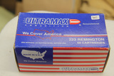 1 Box of 50, Ultramax 223 Rem 55 gr FMJ