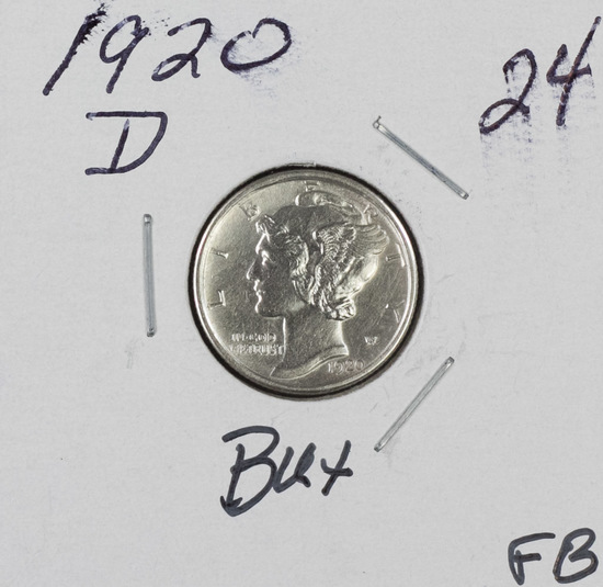 1920-D MERCURY DIME - BU FULL BANDS