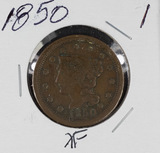 1850 BRAIDED HAIR LARGE CENT - XF