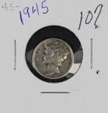 LOT OF 3 - MERCURY DIMES - 1945-P, 1945-D, 1945-S