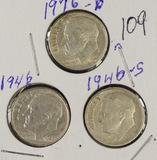 LOT OF 21 -  ROOSEVELT DIMES  -AU-UNC 1946-1963