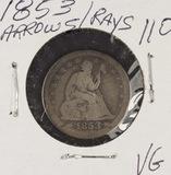 1853-O W/ARROWS & RAYS SEATED LIBERTY QUARTER