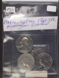 LOT OF 4 WASHINGTON QUARTERS 1967-BU, 1968-AU, 1968-D UNC, 1968-P