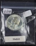 1948-D WASHINGTON QUARTER - BU