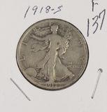 1918-S WALKING LIBERTY HALF DOLLAR - F