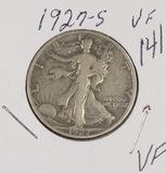 1927-S WALKING LIBERTY HALF DOLLAR - VF