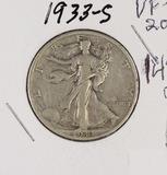1933-S WALKING LIBERTY HALF DOLLAR - VF