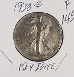 1938-D WALKING LIBERTY HALF DOLLAR -F - KEY DATE