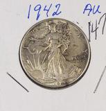 1942 - WALKING LIBERTY HALF DOLLAR - AU