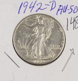 1942-D WALKING LIBERTY HALF DOLLAR - AU