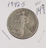 1942-S WALKING LIBERTY HALF DOLLAR - VF