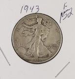 LOT OF 7 - WALKING LIBERTY HALF DOLLARS 1943-1947, F-VF
