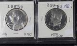 KENNEDY HALF DOLLARS -1986-D- BU & 1986-S  PROOF