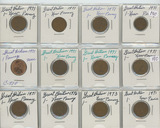 LOT OF 12 GREAT BRITAIN 1971-76 NEW PENNY - AU-BU