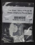 1-OZ SILVER - ICONS OF ROUTE 66 SHIELD -OKLAHOMA
