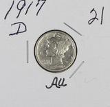 1917-D MERCURY DIME - AU