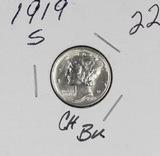 1919-S MERCURY DIME - CH BU