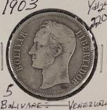 1903 - VENEZUELA 5 BOLIVARES #24