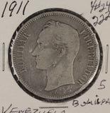 1911 - VENEZUELA 5 BOLIVARES #24