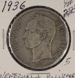1936 - VENEZUELA 5 BOLIVARES #24