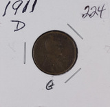 LOT OF 2 -1911-D LINCOLN CENTS  - VG