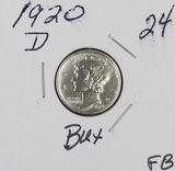 1920-D MERCURY DIME - BU FULL BANDS
