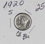 1920-S MERCURY DIME - CH BU