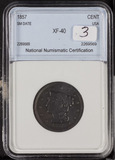 1857 - SMALL DATE - BRAIDED HAIR LARGE CENT - XF