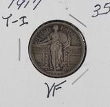 1917 - TYPE I STANDING LIBERTY QUARTER - VF