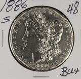 1886-S MORGAN DOLLAR - BU+