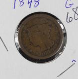 1848 BRAIDED HAIR LARGE CENT - G