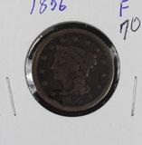 1856 - SLANTED 5 - BRAIDED HAIR LARGE CENT - F