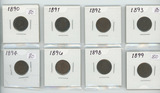 LOT OF 8 - 1890'S INDIAN HEAD CENTS