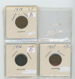 LOT OF 3 LINCOLN CENTS 1914-VF, 1916 - VG, 1917 - VF
