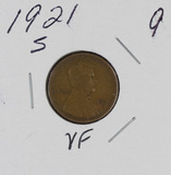 1921-S LINCOLN CENT - VF