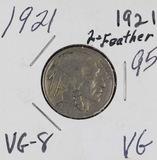1921 - 2 FEATHER BUFFALO NICKEL - VG