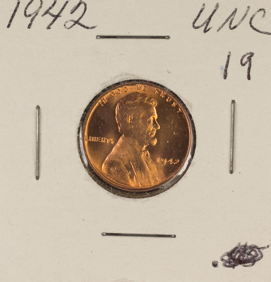 LOT OF 20 - BURED UNC LINCOLN CENTS - 1942-1958