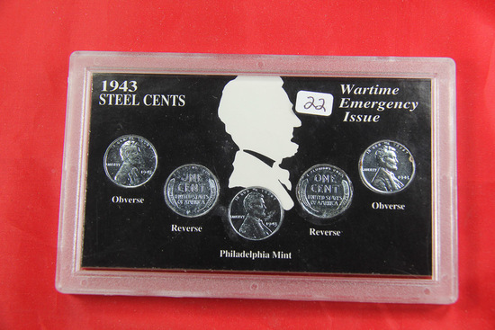 SET OF 1943-P,D,S +2 WWII STEEL CENTS IN CASE