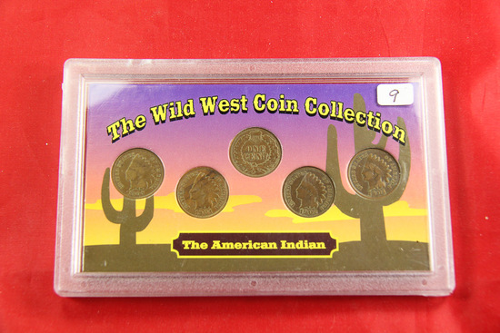 "SET OF 6 - INDIAN HEAD CENTS IN ""WILD WEST CASE"""