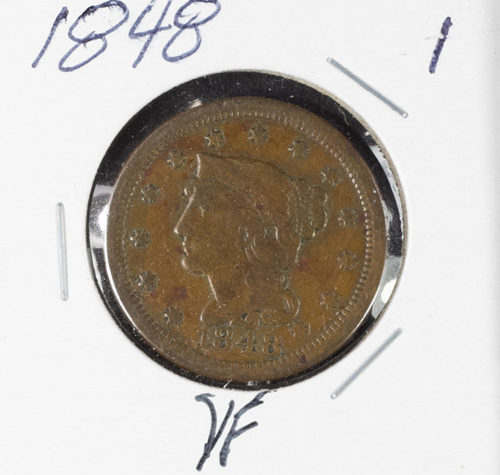 1848 - BRAIDED HAIR LARGE CENT - VF