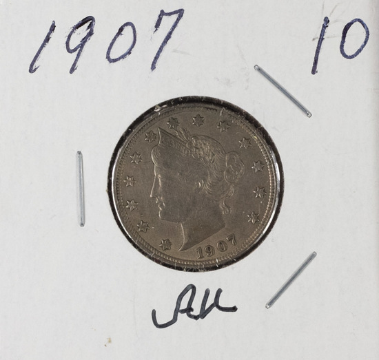 "1907 - LIBERTY ""V"" NICKEL - AU"
