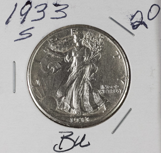 1933-S WALKING LIBERTY HALF DOLLAR - BU