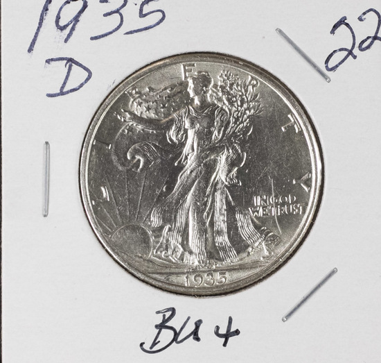 1935-D WALKING LIBERTY HALF DOLLAR - BU+