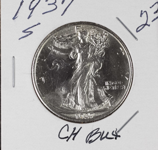 1937-S WALKING LIBERTY HALF DOLLAR - CH BU