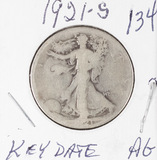 1921-S WALKING LIBERTY HALF DOLLAR - AG - KEY DATE