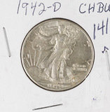 1942-D WALKING LIBERTY HALF DOLLAR - UNC