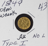 1849 TYPE I NO L ONE DOLLAR GOLD PIECE