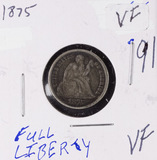 1875 SEATED LIBERTY DIME - VF