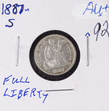 1887-S SEATED LIBERTY DIME - AU